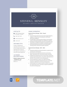 Business Services Manager Resume Template