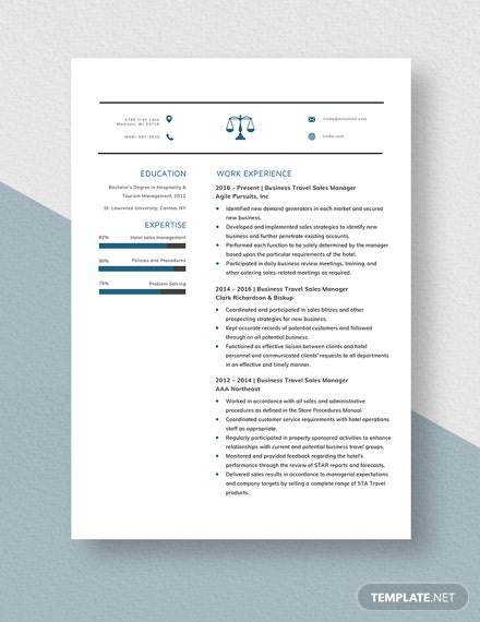 Business Travel Sales Manager Resume  Template