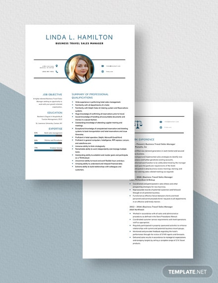 Business Travel Sales Manager Resume Download