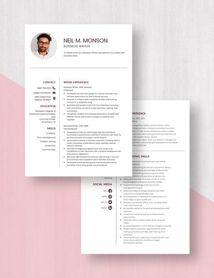 Business Writer Resume Download
