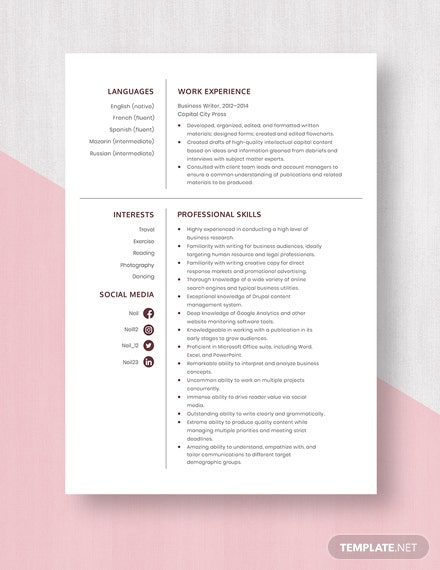 Business Writer Resume Template