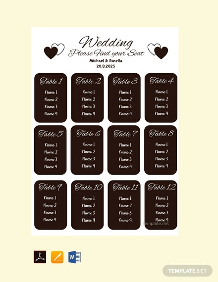 Free Blank Wedding Seating Chart Template