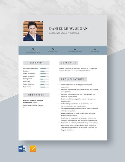 Corporate Account Director Resume Template