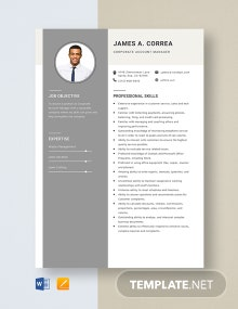 Corporate Account Manager Resume Template