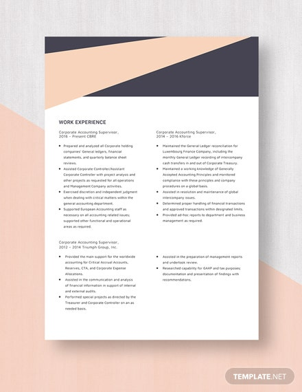 Corporate Accounting Supervisor Resume  Template