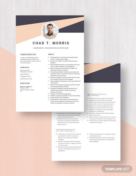 Corporate Accounting Supervisor Resume Download