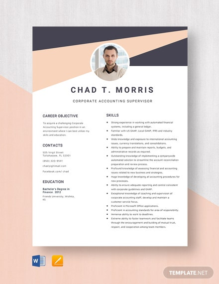 Corporate Accounting Supervisor Resume