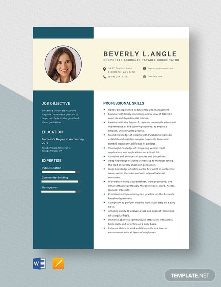 Corporate Accounts Payable Coordinator Resume Template
