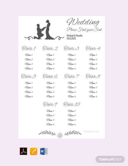 Free Banquet Seating Chart Template