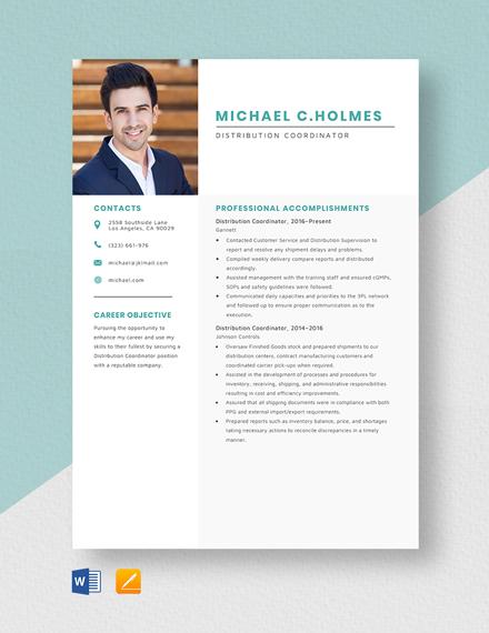 Distribution Coordinator Resume Template
