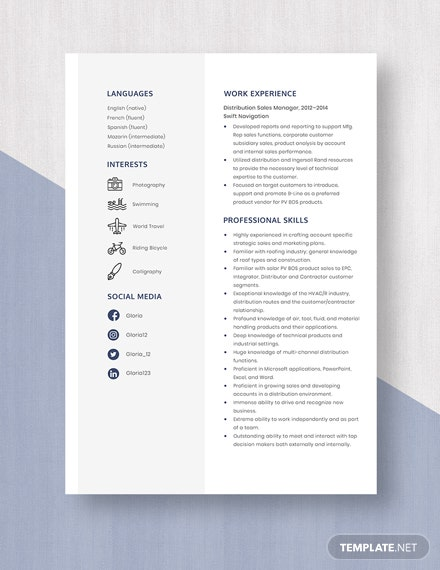 Distribution Sales Manager Resume Template