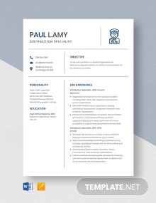 Distribution Specialist Resume Template