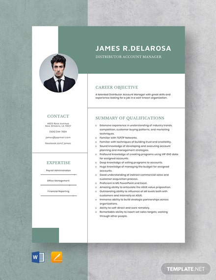 Distributor Account Manager Resume Template