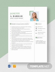 District Account Manager Resume Template