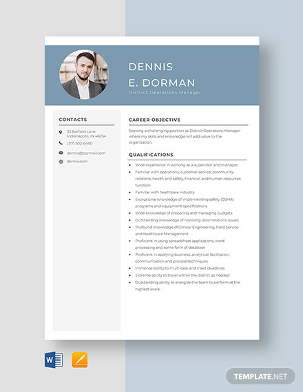 District Operations Manager Resume Template