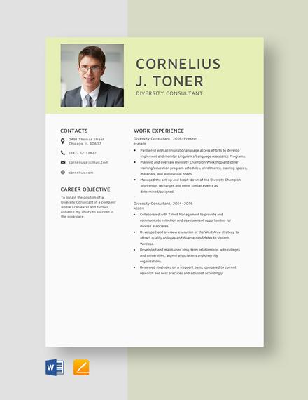 Diversity Consultant Resume Template