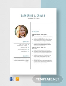 E Business Manager Resume Template