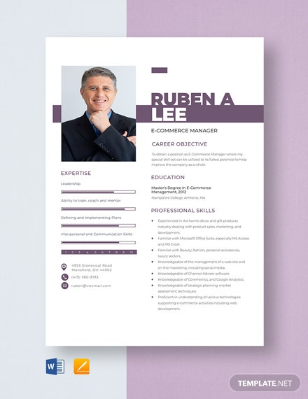 E-commerce Manager Resume Template