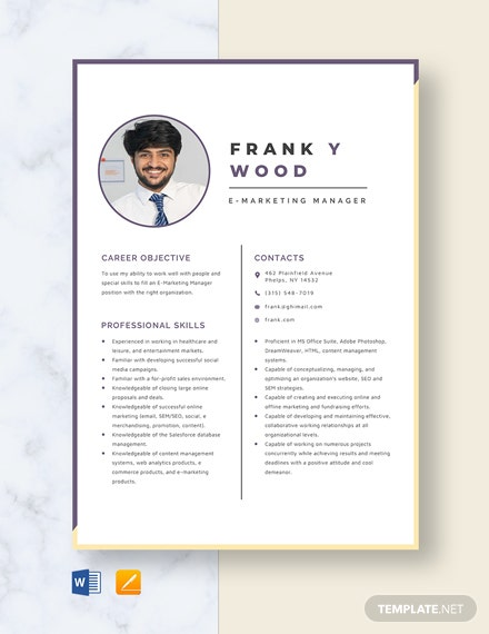 E-Marketing Manager Resume Template