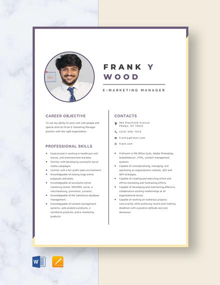 E-Marketing Manager Resume Template