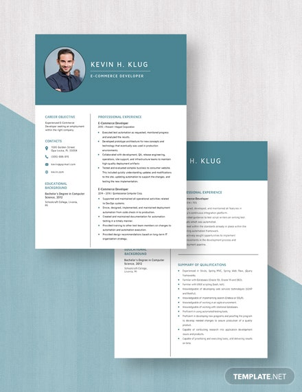 E-Commerce Developer Resume Template [Free Pages] - Word, Apple Pages