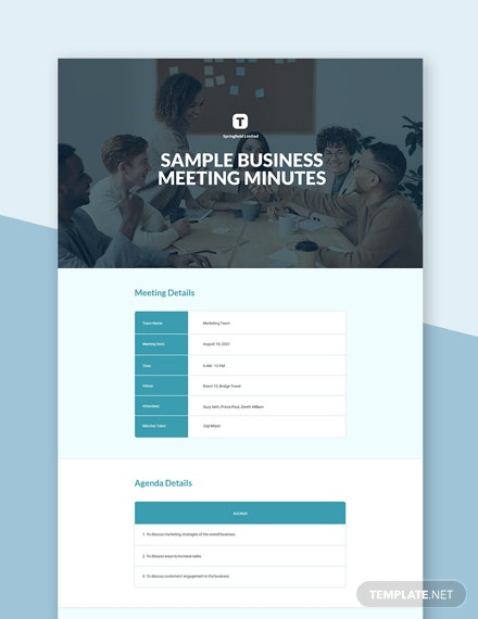 Editable Free Sample Business Meeting Minutes Template