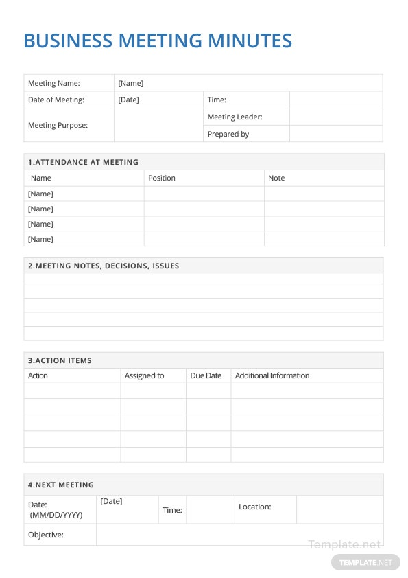 sample business meeting minutes template in microsoft word