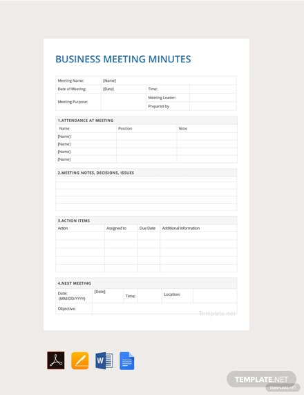 Free Sample Business Meeting Minutes Template