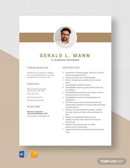 E-Learning Designer Resume Template