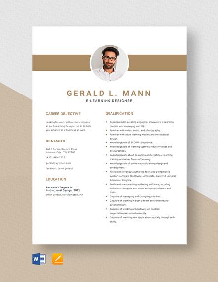 E-Learning Designer Resume Template