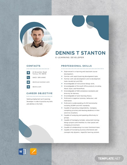 E-Learning Developer Resume Template