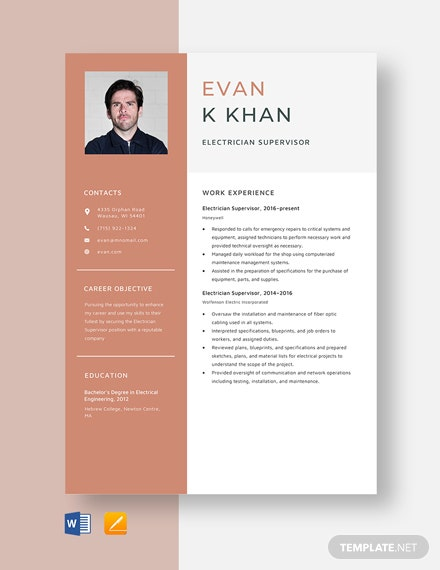 Electrician Supervisor Resume Template