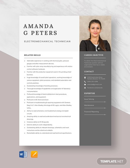Electromechanical Technician Resume Template