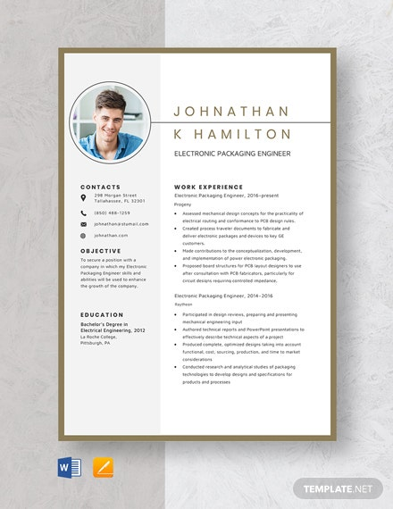 Electronic Packaging Engineer Resume Template