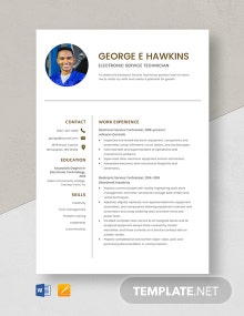 Electronic Service Technician Resume Template