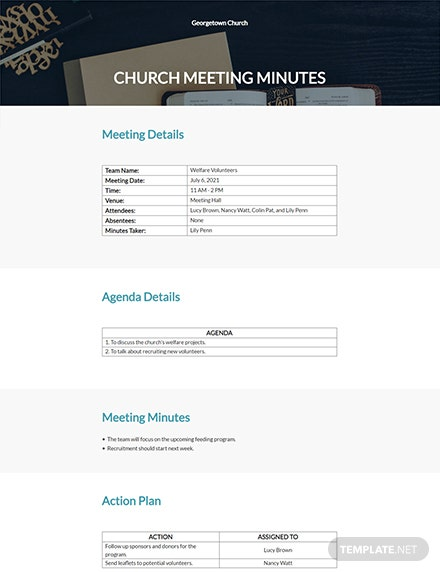 Editable Free Church Meeting Minutes Template