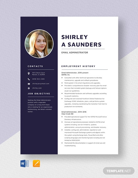 Email Administrator Resume Template
