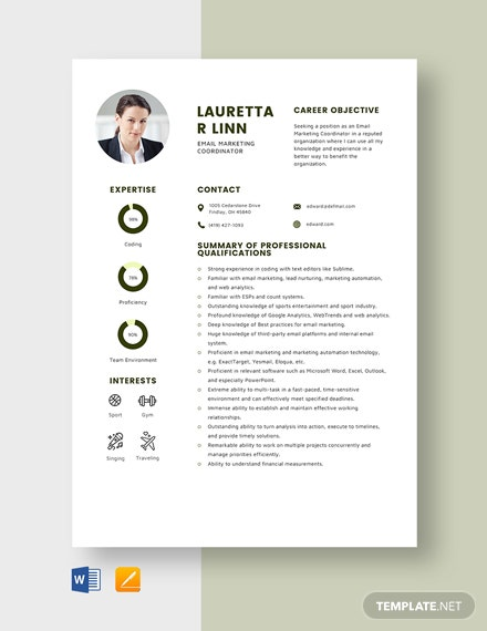 Email Marketing Coordinator Resume Template