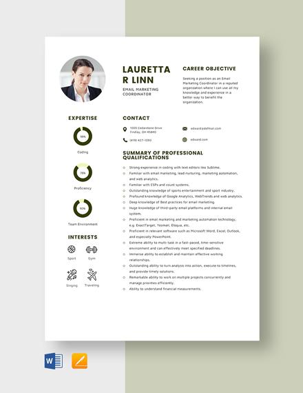 Email Marketing Coordinator Resume Template