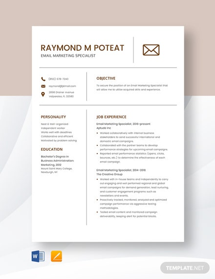Email Marketing Specialist Resume Template