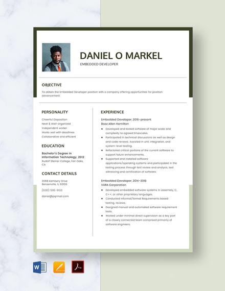 Embedded Developer Resume Template
