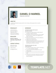 Embedded Developer Resume Template