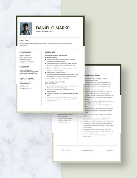 Embedded Developer Resume Download