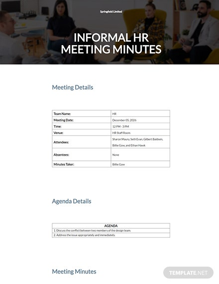 Informal Meeting Minutes Template