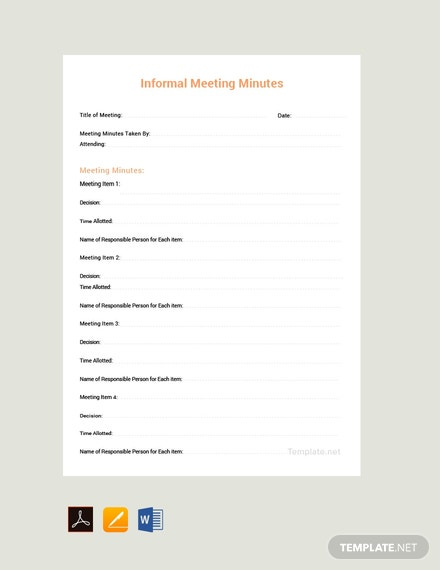 Free Informal Meeting Minutes Template