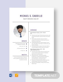 Equity Research Analyst Resume Template