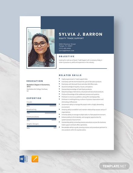 Equity Trade Support Resume Template