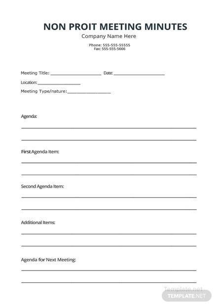 Non Profit Meeting Minutes Template