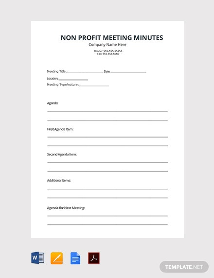 Free Non Profit Meeting Minutes Template