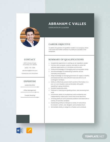 Expedition Leader Resume Template